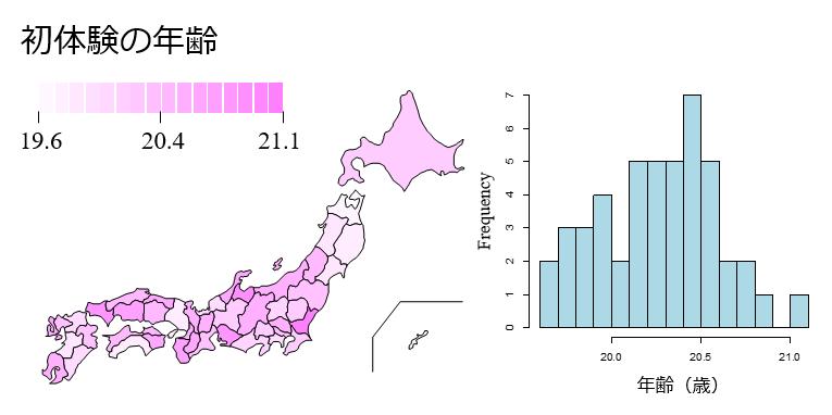 初体験の年齢都道府県分布
